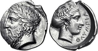 Olympia, Greece - Silver Tetradrachm from Olympia, 360 BC.  Obverse: Head of Zeus wearing laurel wreath. Reverse: Head of the nymph Olympia wearing sphendone. ΟΛΥΜΠΙΑ to right.