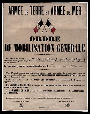 French mobilization poster, 1914,aug.1st