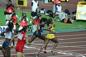 Christine Ohuruogu - Ohuruogu (in dark blue, centre) winning the 400 m at the world championship in Osaka