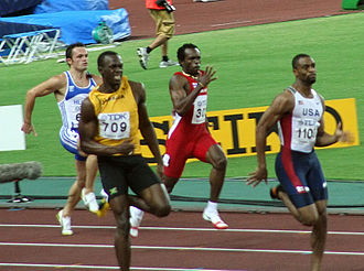 Usain Bolt - Bolt trailing behind Gay in the closing stages of the 200 m race, 2007