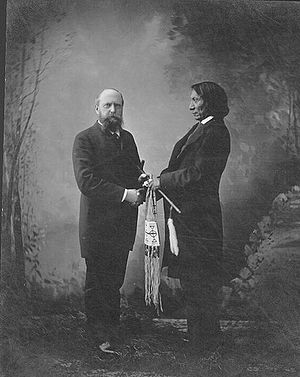 Othniel Charles Marsh - Othniel C. Marsh and Chief Red Cloud pictured in New Haven, Connecticut, c. 1880