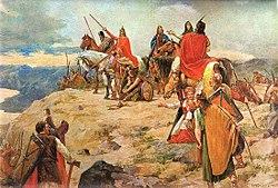A horvát honfoglalás a 7. században (Oton Iveković festménye)