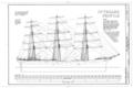 Outboard Profile - Ship BALCLUTHA, 2905 Hyde Street Pier, San Francisco, San Francisco County, CA HAER CAL,38-SANFRA,200- (sheet 6 of 69).png