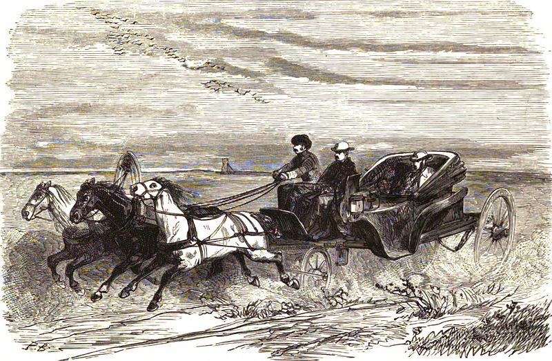 File:P.B. Le tarantasse et la steppe (TyP. J. Claye). (Fussart). Floriant Gille. Lettres sur le Caucase et la Crimée. 1859.jpg