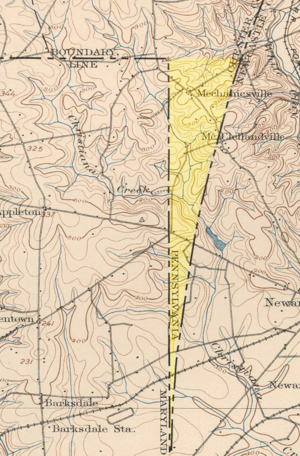 Wedge (border) - An 1898 USGS topographic map attributing ownership of The Wedge to Pennsylvania