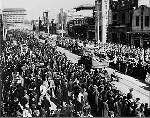 People's Liberation Army - Troops of the PLA entering Beijing at some unknown period of time in 1949 during the Chinese Civil War (between 1945 and 1949)