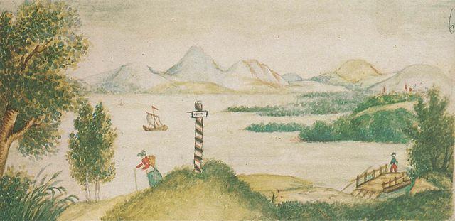 Кавказский пейзаж с озером. Детский рисунок Лермонтова из альбома