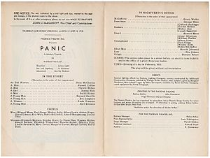 Panic (1935 play) - Playbill for Panic (March 14–15, 1935)
