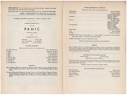 Playbill for Archibald MacLeish's Panic (March 14-15, 1935), Welles's first starring role on the U.S. stage Panic-Playbill-Interior-1935.jpg