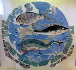 Pannello decorativo in vetro con pesci (orata, sgombro e delfino), 200-250 ca. 01.JPG