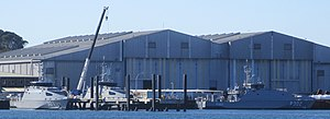 Panorama of three Guardian class patrol boats at Austal shipyards in Henderson, Western Australia, August 2020.jpg