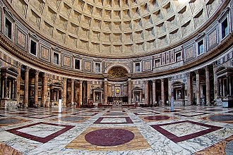 Afyonkarahisar - Pantheon, Rome. White Docimian marble is used on the floor and some of the columns such as the two protruding columns of the main apse. The white Docimian color on the floor is very dominant