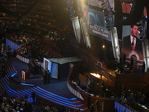 Patrick Murphy (Pennsylvania politician) - Murphy introduces military veteran candidates for Congress during the third night of the 2008 Democratic National Convention in Denver, Colorado.