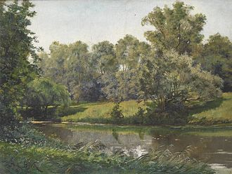 Paul Biva - Paul Biva, Paysage (La rivière), oil on canvas, 46 x 61 cm