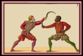 Paulus Hector Mair.- A Duel with Two Sickles, on of African descent, Arte de Athletica, Germany, c. 1550.png