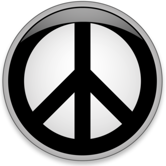 "World peace - A nuclear disarmament symbol, commonly called the ""peace symbol"""