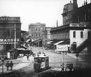 Streetcars in Atlanta - A view of a horsecar on Peachtree Street in 1882