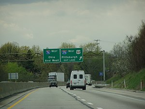 Interstate 376 forks off from the westbound Pe...