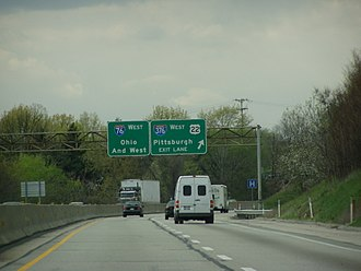 Pennsylvania Turnpike - Westbound, approaching Pittsburgh interchange with I-376/US 22