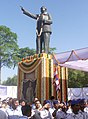 People from different walks of life paying floral tributes to Baba Saheb, Dr. B. R. Ambedkar on his 115th Birth Anniversary, in New Delhi on April 14, 2006.jpg