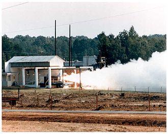 Pershing II - Pershing rocket motor being destroyed by static burn, September 1988