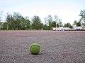 Pesäpallo ball on pesäpallo field 20180526.jpg