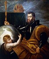 """""""Allegorie auf Kaiser KarlV. als Weltenherrscher"""" (Gemälde von Peter Paul Rubens, um 1604). Der Spruch: """"In meinem Reich geht die Sonne niemals unter"""" wird KarlV. zugesprochen. (Quelle: Wikimedia)"""