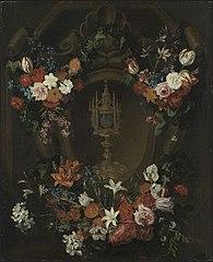 Flower garland around a monstrance