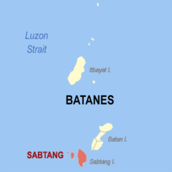 Map of Batanes showing the location of Sabtang