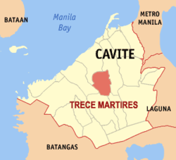 Map of Cavite showing the location of Trece Martires City.