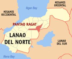 Map of Lanao del Norte with Pantao Ragat highlighted