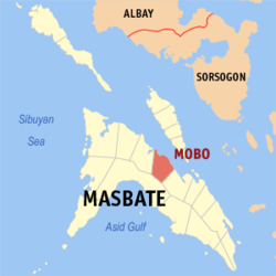 Map of Masbate with Mobo highlighted