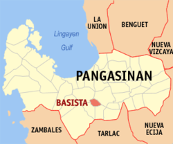 Map of Pangasinan with Basista highlighted