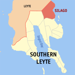 Map of Southern Leyte with Silago highlighted