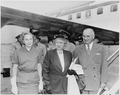 Photograph of President Truman, the First Lady, and their daughter Margaret, at the airport in Washington prior to... - NARA - 200332.tif