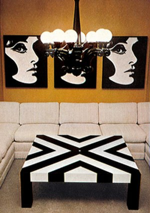 Phyllis Morris - Pop goes the Sixties! This Phyllis Morris vignette from 1964 shows a Pop Art poster introduced by Morris that was later transformed into wallpaper in 2005 by Morris' daughter Jamie Adler