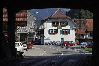 Eggiwil - Northern entrance to Eggiwil village, under a wooden bridge