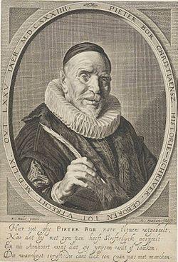 Pieter Christiaensz Bor - Frans Hals pinxit - Adriaen Matham sculpsit 1634.jpg
