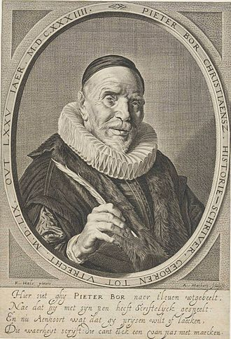 Pieter Bor - Pieter Bor from the second edition of his 1601 book; 1637 engraving by Adriaen Matham after the Frans Hals portrait