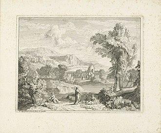 Pieter Rijsbraeck - Various figures near a river