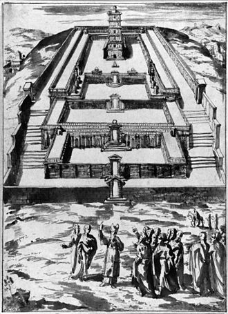 Ezekiel's Temple - Sketch of the Temple by Pieter de Witte (also known as Peter Candid); pen and wash bistre or ink on paper, 321 × 234 mm. Weimar, Germany