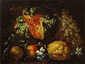 Pietro Navarra - Tihožitje z bučo, grozdjem, citrusom in cvetjem.jpg