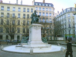 pedestrian square in the Ainay square, in the 2nd arrondissement of Lyon