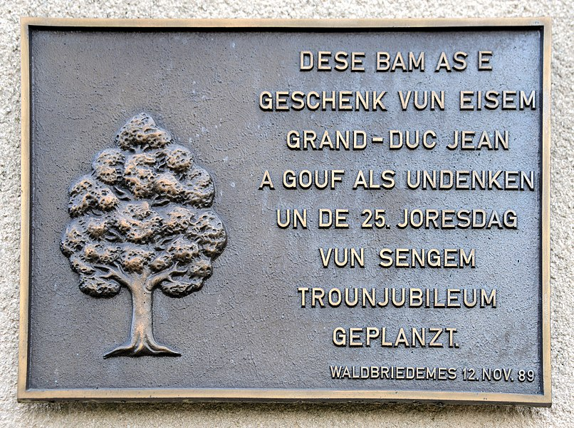 Plack um 'Veräinsbau Jos Rennel' zu Waldbriedemes.