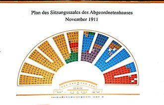 Imperial Council (Austria) - Seats of the House of Deputies of the Imperial Austro-Hungarian Council.Situation after the November 1911 Cisleithanian legislative elections. The seats are marked by nationality.