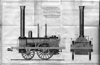 """Planet (locomotive) - A contemporary engraving of a locomotive """"similar to the Planet"""", though with some differences in detail."""