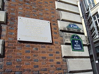 Hôtel Tubeuf - Plaque on the Hôtel Tubeuf commemorating the signing of the Louisiana Purchase Treaty
