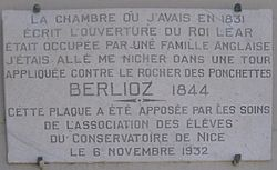 Photo of Hector Berlioz white plaque