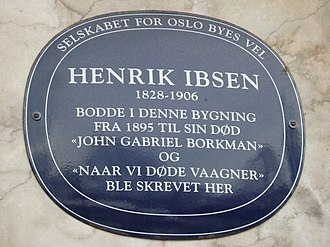 Henrik Ibsen - Plaque to Ibsen, Oslo marking his home from 1895-1906