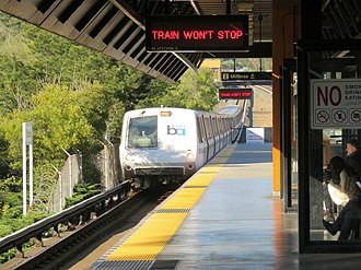 Antioch–SFO/Millbrae line - A westbound 24th Street Limited train bypassing Orinda station